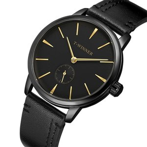 T-Winner Mode Marque Hommes Montres mécaniques véritable bracelet en cuir de luxe Business Case Black Hommes Montres Relogio Masculino 0924