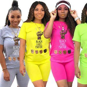 CM.YAYA Sport Women Black Lives Matter Letter Two Piece Set T Shirt Shorts Jogger Pants Suit Tracksuit Matching Set Outfit