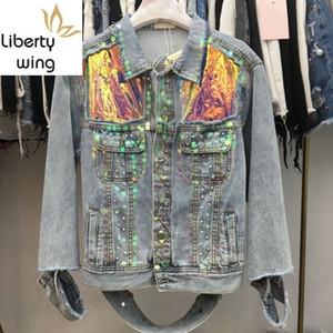 Kişilik Yeni Renkli Sequins İşlemeli fişekleri Kadın Kısa Coats High Street Manşet Delik Gevşek Kadın Denim Ceket Ripped