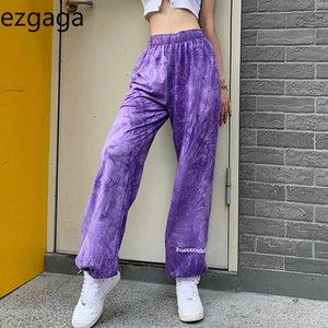 Ezgaga Pantalons femmes Joggers mode Tie Dye Lettre broderie taille élastique en vrac Sport pantalon mince Femme Automne Casual Pantalon