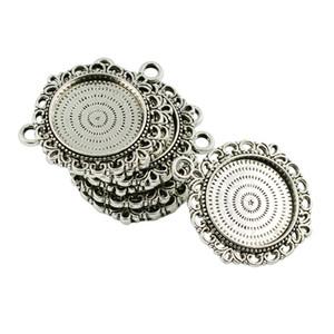 10 шт Vintage Silver Круглый кабошон Настройки Подвеска Пробелы Tray Базовый 20мм