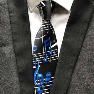 New Designer Music Notation Tie Fashion Men Artist Musician Necktie for Concert Musical Theme Party