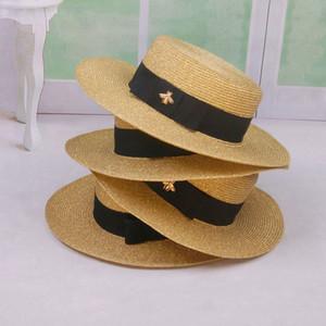Wide Brim Hats 2021 Summer Honeybee Women's Straw Beach Sun Girls Hat Outdoor Flat Fedoras Travel Top