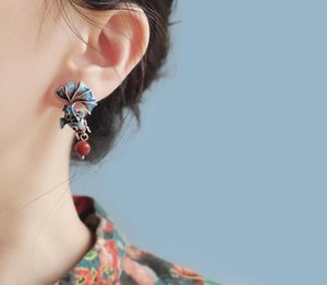 Pendientes Balmora 925 Simular-perla Goldfish retro para mujeres que esmalta la Moda Etnica Jewelry88