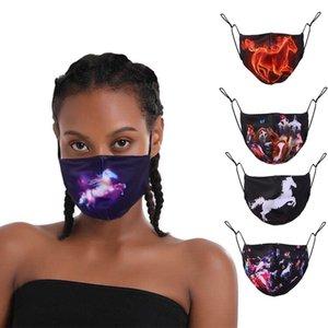 toz geçirmez ve ayarlanabilir siyah bez maske rüzgar geçirmez Yeni Cadılar Bayramı moda 3D dijital baskı pamuk maske sonbahar ve kış