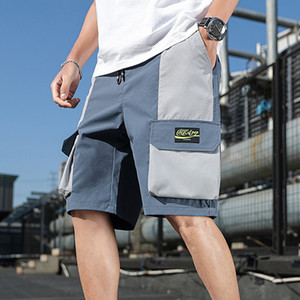 Fashion Cargo Shorts Men 2020 Summer New Hip Hop Shorts Elastic Waist Patchwork Mens Streetwear Casual