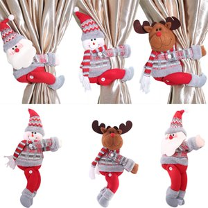 Decorazioni di Natale Natale Dolls Christmas Tree Cortina Curtain Fibbia vacanze finestra della scena layout Cartoon Doll Buckle EWC2115