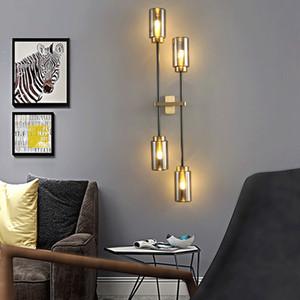 Modern Copper Wall Light Sala de vidro Sconce Lâmpada LED Wall Vintage Dispositivo elétrico claro quarto / cozinha / Villa Lampara