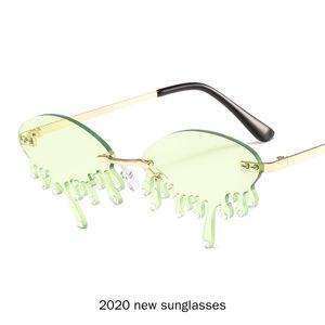 Vintage Rimless Punk Sunglasses Women Bling Diamond Brand Designer Men Sun Glasses Ladies Men Shades Rhinestone Green Eyewear NX