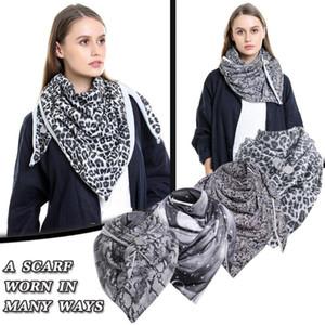 # R40 Leopard Snake Skin Baskı Eşarp Kadınlar Kış Eşarplar Kadınlar Baskı Düğme Yumuşak Wrap Casual Sıcak Eşarplar Şallar