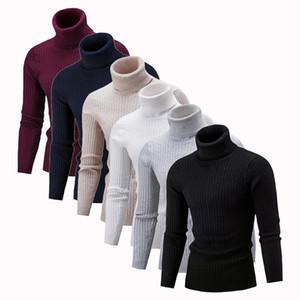 Les hommes de haute qualité chaud pull à col roulé mode Pull en maille Pull solides Casual Slim Homme Double Hauts Collar