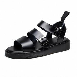 Doc Leather Sandals Women Summer Soft Martins Shoes Buckle Strap Ladies Sandalias Slippers Plus Size Women Casual Roman Sandals Sandel wN04#