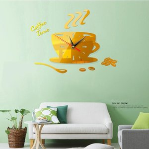 3D Acrylic Wall Clock DIY Coffee Time Clock Modern for Kitchen Home Decor Cup Shape Wall Sticker Hollow Numeral