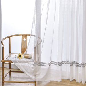 Modern White Sheer Curtain for Living Room Luxury Hollow Tulle Curtain for Bedroom Window Treatment Voile Drape JK149Y