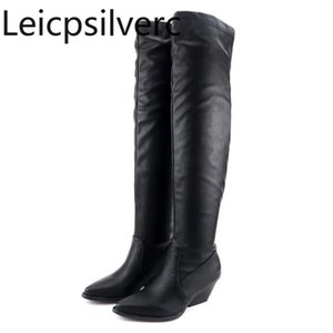 Women's Boots Autumn And Winter The New fashion Pointed Thick heel mid heel Women's Over the knee boots plus size 34-48