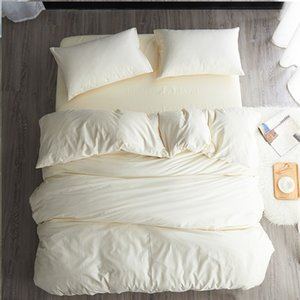 Modern simple style beige blue fitted sheet sabanas cotton solid color 3 4pcs bedding set twin full queen size free shipping A