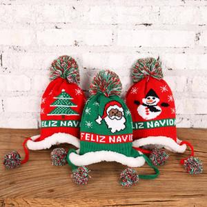 LED de Noël chapeaux tricotés chapeau de Noël pour enfants en peluche d'amour modèle Fluffy-peluche Pompon Père Noël Cap Pour Party