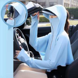 자외선 차단제 옷을 운전 rzLHD 회전 렌즈 짧은 코트 얼음 실크 목도리 야외 자전거 짧은 코트 옷 자전거 자외선 차단제 옷