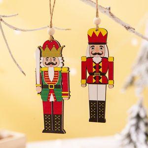 Ornamento Soldado Árvore de madeira Walnut Soldado Pingente Feliz Natal Soldado Pendant decoração colorida impressa de suspensão de madeira