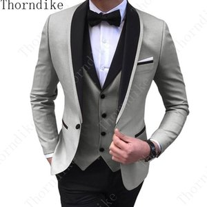 (Jacket+Vest+Pants) Mens Wedding Suit Male Blazers Slim Fit Suits for Men Costume Business Formal Party Classic Gray Blue Purple 200922
