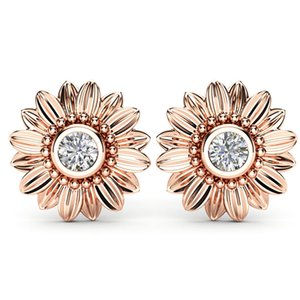 Wholesale-CZ Stone Earings Fashion Jewelry Crystal Stud Earrings For Women Bijoux Gold Silver Color Sunflower Statement Earring New