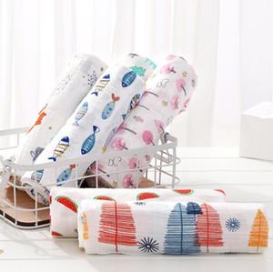 Baby Swaddle Bath Towels Muslin Newborn Blanket Wrap Cotton Bath Towels Air Condition Towel Cartoon Printed Swaddling Stroller EWB3343