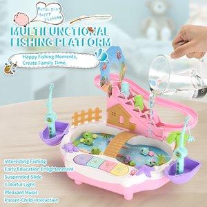 de interacción entre padres e hijos los niños juguete de los niños que la pesca eléctrica muchachos 1-2-3-4-1 / 2 años de edad y niñas conjunto de los pescados 6 rompecabezas magnético