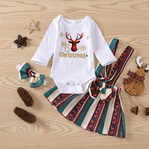 Bebek Noel kıyafetler Bebek Kız Moose Baskılı Uzun Kollu Romper + Yaylar Pileli Suspender Etek + Yaylar Kafa 3PCS A4297 ayarlar