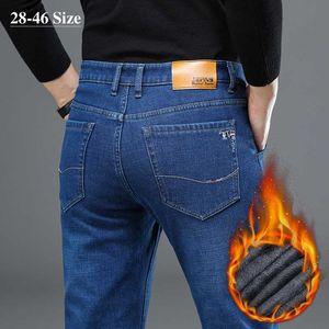 Plus Size 42 44 46 Winter Men's Warm Jeans Thicken Fleece Business Casual Straight Denim Pants Black Blue Jeans Trousers Male