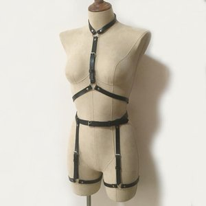 2020 Fashion Punk Goth Lingerie leather material Neck around harness Belts Hot Suspenders leg garter belt 2pcs set