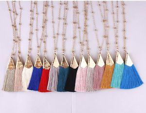 Boho zerknittert Fan-Franse-Troddel-hängende lange Halsketten-Gold poliert Metallic Triange Quaste Anhänger mit Perlen Steine Lange Kette für Frauen