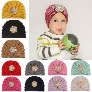 Hot children wool crochet warm hat fashion baby knitted diamond headwear hat kids outdoor thick cap ear cover turban