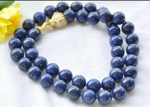 "Natural 36"" 14mm Round Blue lapis-lazuli Bead Necklace CZ Cougar"