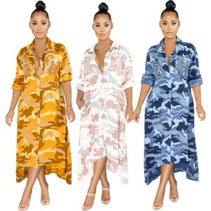 Camouflage Women Shirt Dresses Casual Long Sleeve Single Breasted Long Asymmetrical Dresses New Autumn Women Clothes