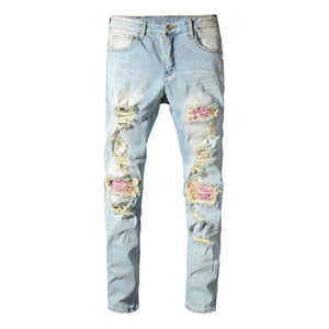 maschio patchwork bandana paisley stampato i jeans biker chiaro buchi blu dei nuovi uomini di strappati magro tratto pantaloni denim dei pantaloni