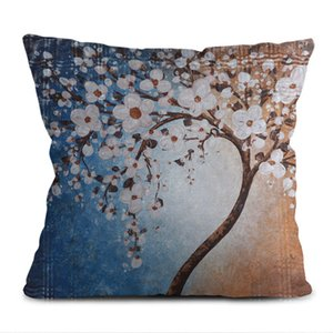 Cross-border new products in 2020, factory direct Selling Chinese style oil painting series of plum flower pillow case office pillow sofa p