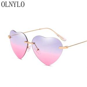 Yeni Kalbin çerçevesiz çerçeve Moda Seksi bayan Güneş Marka tasarımcı Çift renk Sürüş balıkçılık Güneş Gözlükleri Gafas De Sol