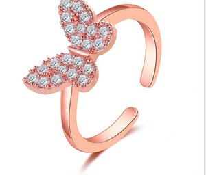 New jewelry temperament butterfly super flash ring ins fashion person net red simple opening adjustable ring