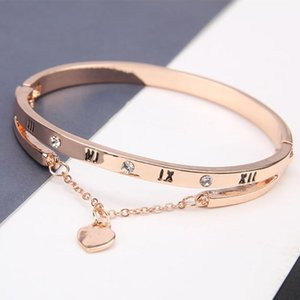 Luxury Jewelry Rose Gold Stainless Steel Bracelets & Bangles Female Heart Forever Love Charm Bracelet For Women