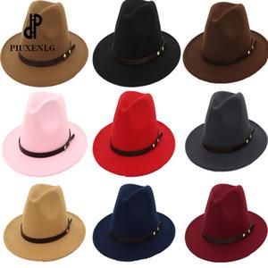 женские Fedora Hat широких полей шляп осени для женщин лета женщин Шляпы Мужчина Мода черного Top Jazz Hat Fedoras