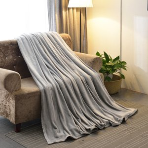 Flannel Fleece Blanket Soft Thick Sherpa Throw Blanket for Sofa Napping knee quilt plain raschel comforter warm office