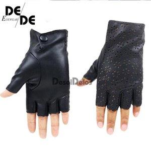 Пять пальцев Перчатки DesoldeLos Женщины без пальцев Дышащая мягкая кожа для танцевальной вечеринки Показать женские черные половинные палец Mittens R006.