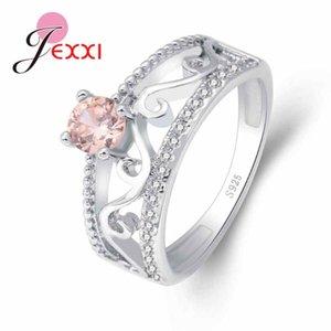 Anneaux de cluster Paides Micro Prong Réglage rond rose Blanc clair CZ Mariage Engagement Party Bijoux 925 Sterling Silver