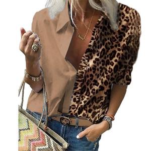 Casual Turn-Down cuello de la blusa de las mujeres Leoprad impresos camisas tapas de las señoras del color del contraste remiendo Blusas Mujer Blusas D30