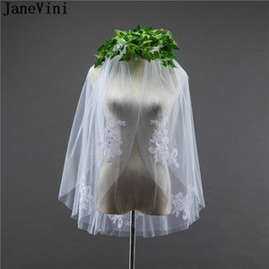 JaneVini Short bridal veil voile de mariee Two Layers White Ivory Lace Appliqued Bead Wedding Veils for Bride with Comb Cut Edge
