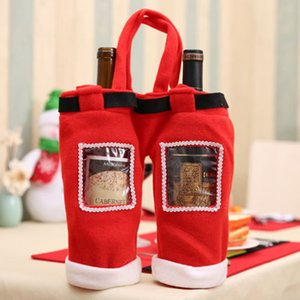 Wedding Gift Bags With PVC Christmas Decor Stocking Sock Santa Pants Gift Stocking Christmas Candy Wine Bottle Suit YL894782