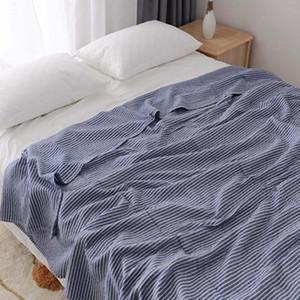 Пряжа Япония Стиль Throw Одеяло для дивана-кровати полоски Летней Кондиционер Покрывала для взрослых Детские полотенца Одеяла
