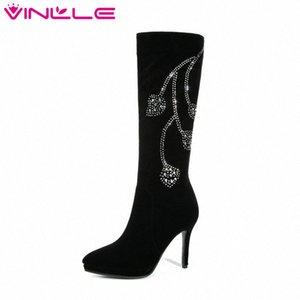 VINLLE 2019 Женщины колено высокие сапоги Все Матч Тонкий высокий каблук Зимняя обувь острым носом Женская Обувь Сапоги большого размера 34 42 клинья обувь Дези SEBS #