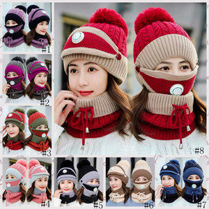 Winter Warm Masks Hat Scarf Set Thick Plus Cashmere Knit Caps Wool Ball Cover Ear Collar Hats with Breathing Valve Masks GGA3729