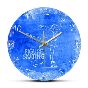 The Lady On Ice Figure Skating Modern Wall Clock Silent Non Ticking Wall Clock Ice Skater Unique Home Decor Sport Art